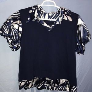 Navy & white 2fer top in plus size 1XL